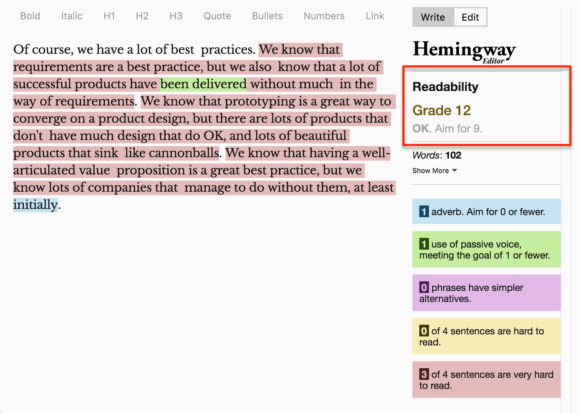 The image is a screenshot of the Hemingway editor, which has highlighted three sentences as being very hard to read.